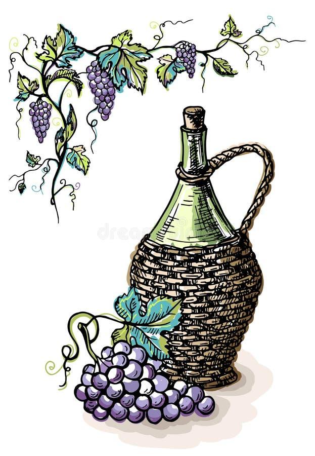 Vattenfärgflaska av vin i vide- korg och druva royaltyfri illustrationer