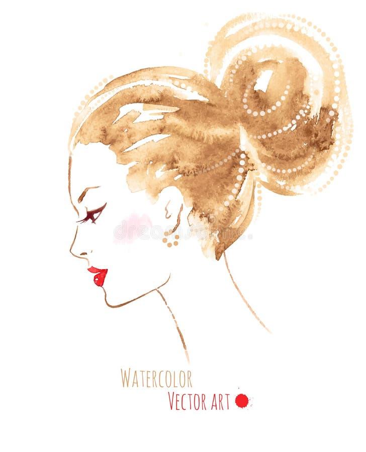Vattenfärgflicka stock illustrationer