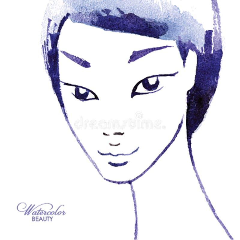 Vattenfärgflicka Unik målade handen ståenden Mode skönhet, modemodell vektor illustrationer