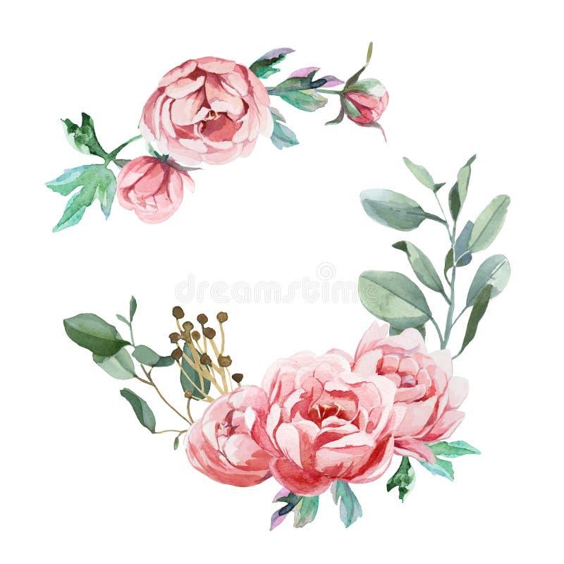 Vattenfärgfrae av pion- och blosomblommor att isolera i vit bakgrund för att gifta sig, inbjudan, valentinkort och tryck royaltyfri illustrationer