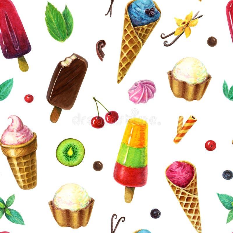 Vattenfärgglassmodell med bär, frukter och mintkaramellsidor Swamless icecreammodell royaltyfri illustrationer
