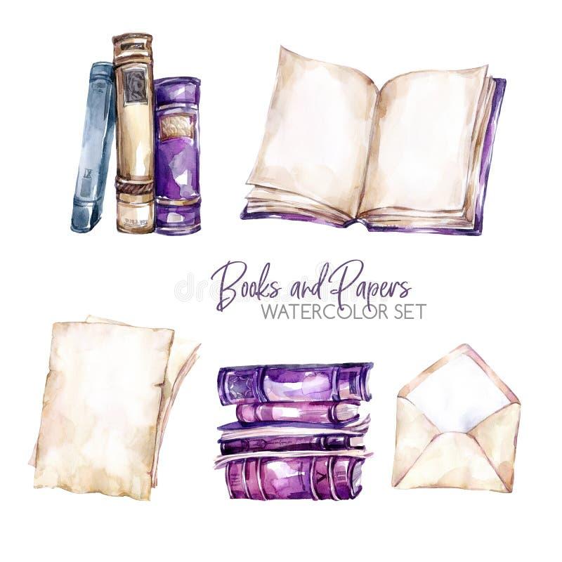 Vattenfärggränser ställde in med gamla böcker, kuvertet och pappersark Original- hand dragen illustration i violetta skuggor vektor illustrationer