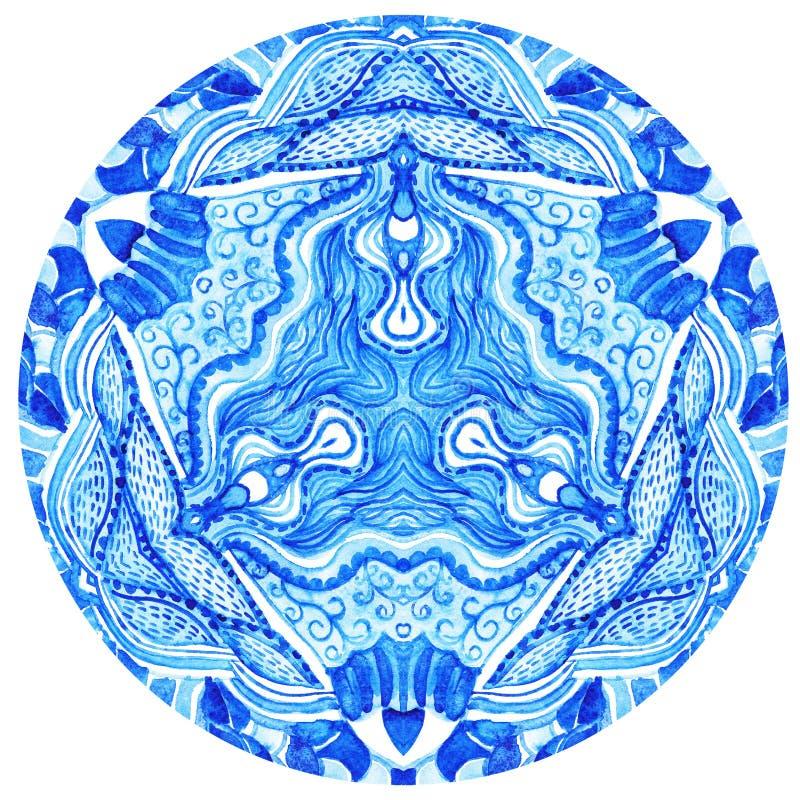 Vattenfärggzhel. Doilyrundan snör åt modellen, cirkelbakgrundswi vektor illustrationer