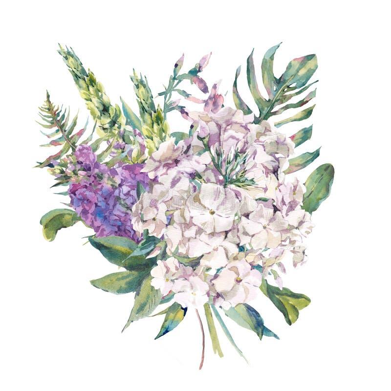 Vattenfärghälsningkort med en bukett av lösa blommor stock illustrationer