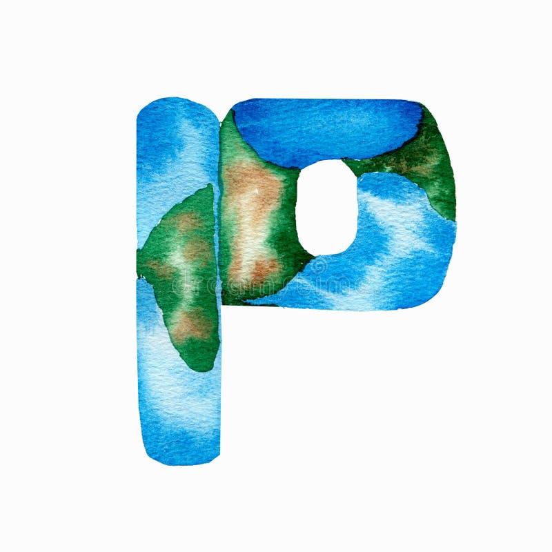 Vattenfärghanden målade alfabetbokstav P som imiterar jorden och det blåa havet Bokst?verbest?ndsdel royaltyfri illustrationer