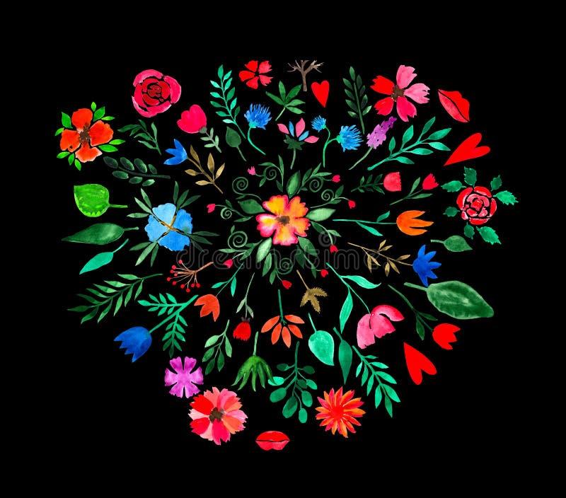 Vattenfärghanden målade blom- och växt- designbeståndsdelar Blommor, gröna sidor, knoppar och hjärtor på svart bakgrund stock illustrationer