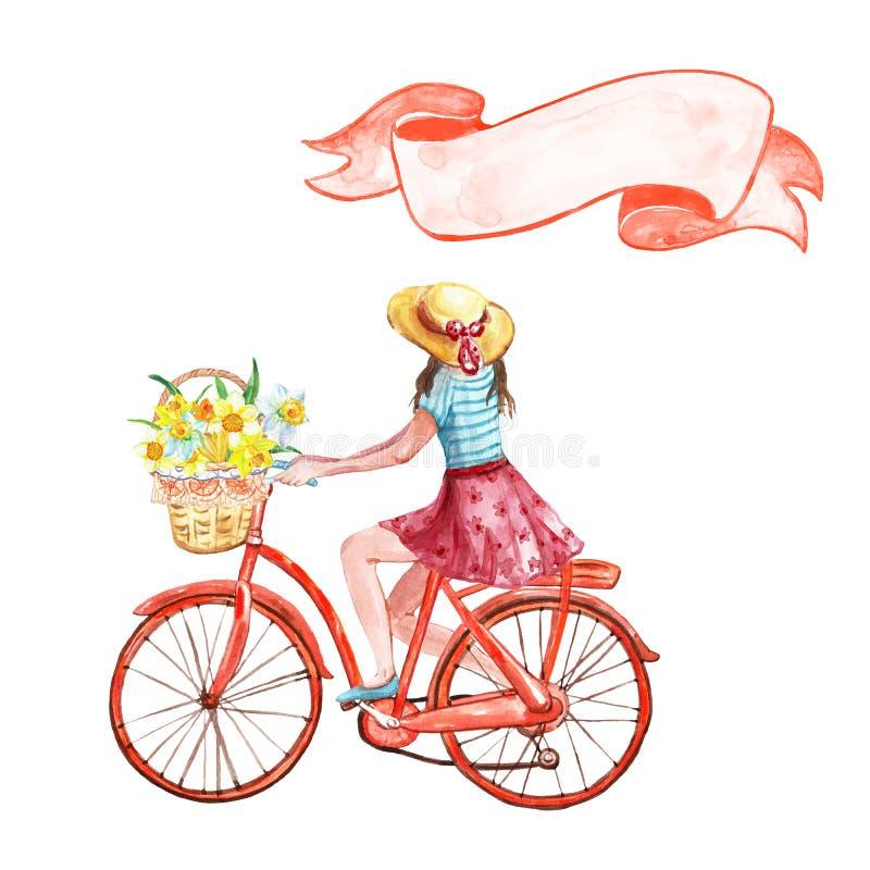 Vattenfärghanden målade flickan på en cykel med korgen mycket av gula blommor och tappningbanret, isolerat på vit bakgrund royaltyfri illustrationer