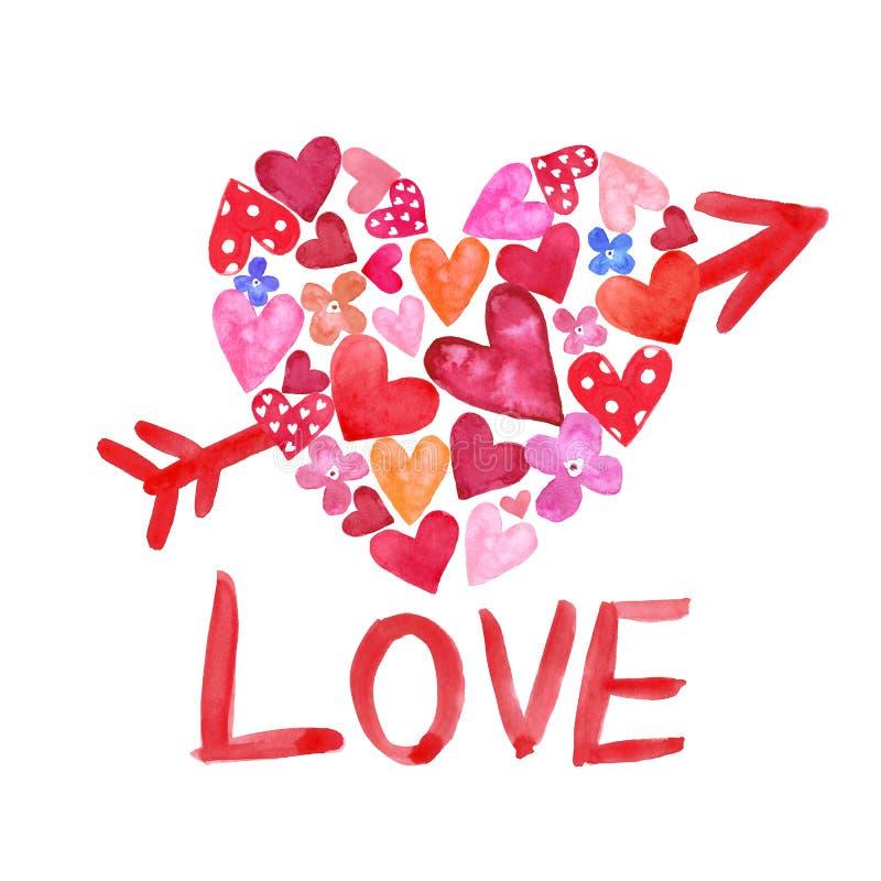 Vattenfärghanden målade hjärtaform med den lilla röda och rosa hjärtor inom och pilen vektor illustrationer