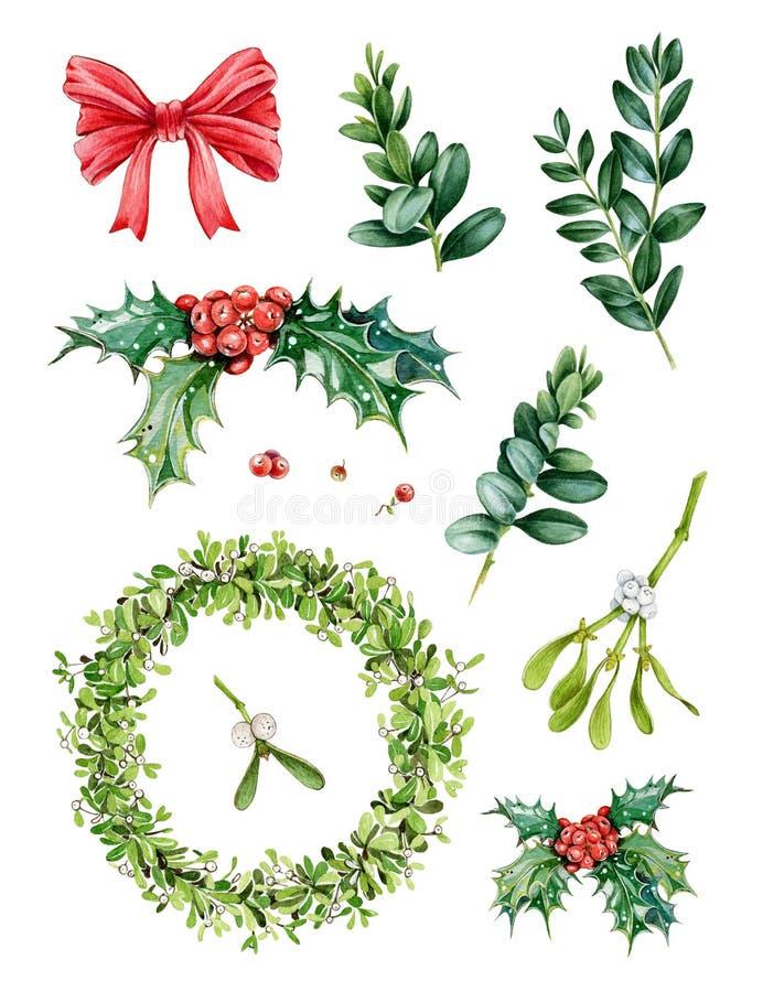 Vattenfärghanden målade juluppsättningen med vintergröna trädfilialer, mistelwraeth, järnek, röda bär, gröna sidor arkivfoton