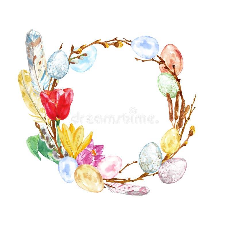 Vattenfärghanden målade påskkransen med kulöra ägg, ris, fjädrar, trädfilialen, isolerade tulpanblommor royaltyfri illustrationer