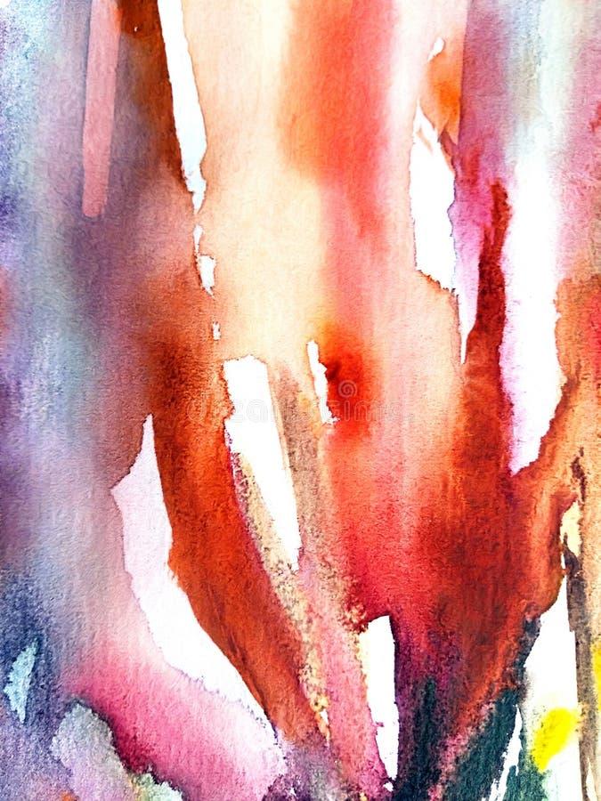 Vattenfärghanden målade röd bakgrund stock illustrationer