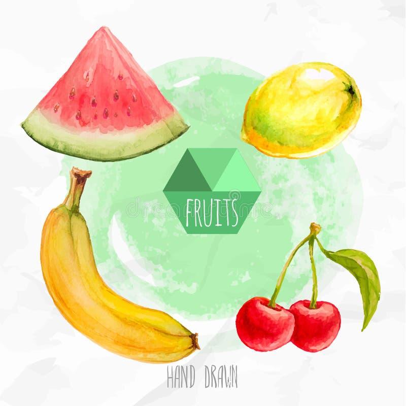 Vattenfärghanden målade vattenmelon, citronen, bananen och körsbäret stock illustrationer