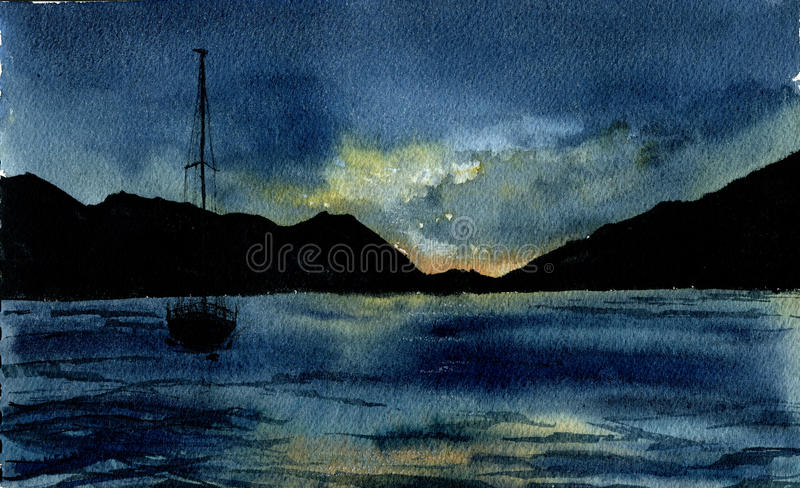 Vattenfärghavslandskap med yachten Hand dragen natthavsillust royaltyfri illustrationer