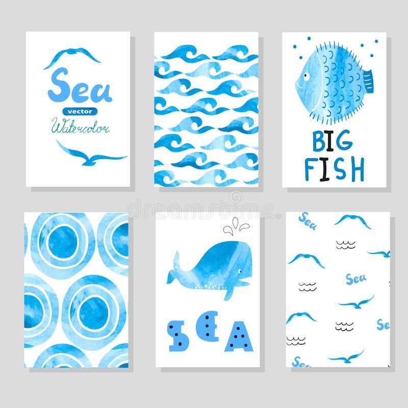 Vattenfärghavsuppsättning i blått- och vitfärger Samling av kortmallen stock illustrationer