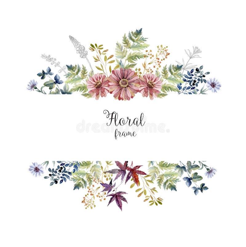 Vattenfärgherbariumramen med blommor och skogen spricker ut royaltyfri bild