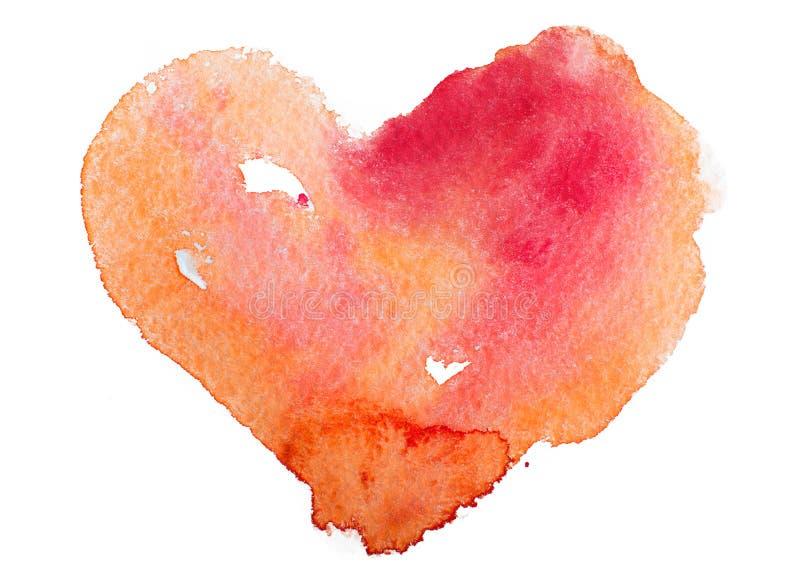 Vattenfärghjärta. Begrepp - förälskelse, förhållande, konst som målar arkivbilder