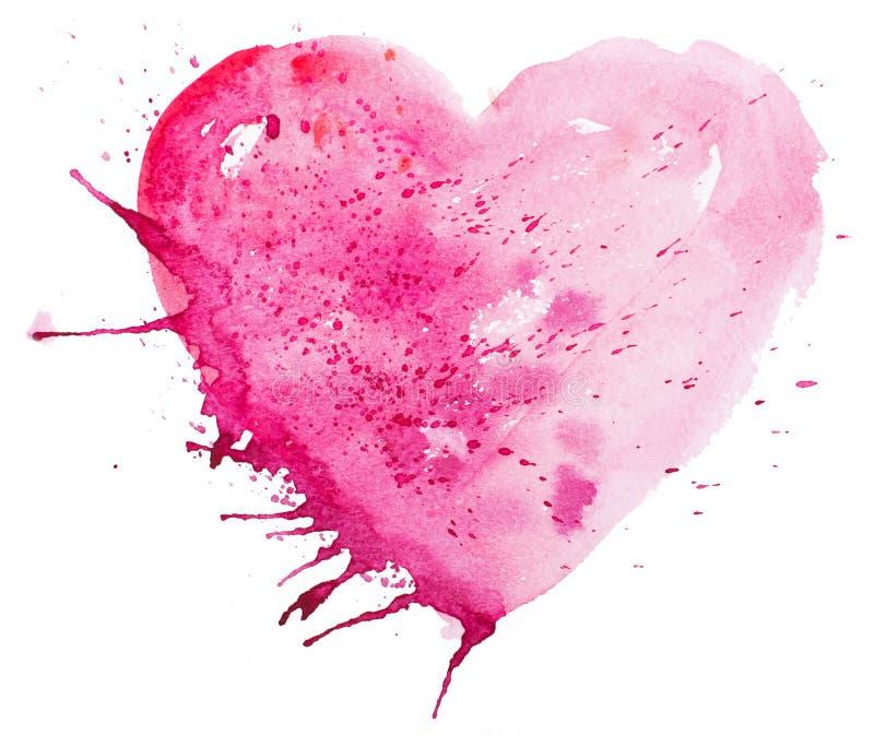 Vattenfärghjärta. Begrepp - förälskelse, förhållande, konst som målar vektor illustrationer