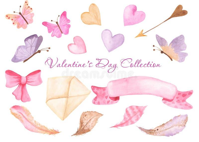 Vattenfärghjärta, fjärilar, kuvert, band, pilbåge vektor illustrationer