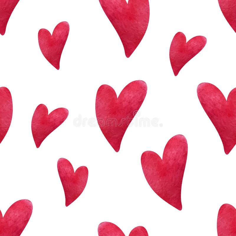 Vattenfärghjärtamodell Hand målade hjärtor på vit bakgrund Planlägg för hälsningkort, bröllop, födelsedag royaltyfri illustrationer