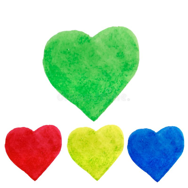 Vattenfärghjärtor formar färgstänk, gör grön, slösar, gulnar, rött royaltyfri illustrationer