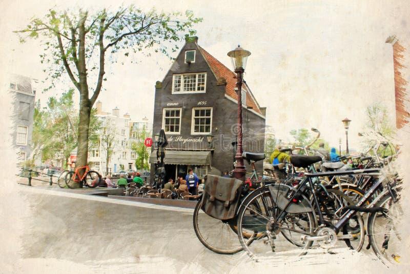 Vattenfärgillustration amsterdam stock illustrationer