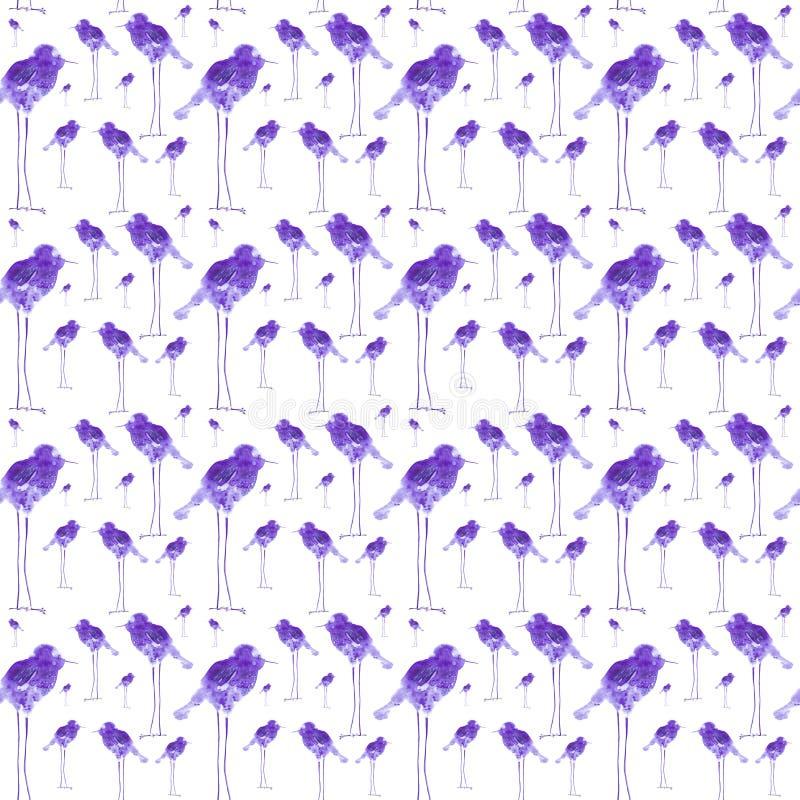 Vattenfärgillustration av abstrakta fågeldroppar på långa ben som är barnslig Skriva ut designbeståndsdelar bakgrund isolerad whi vektor illustrationer