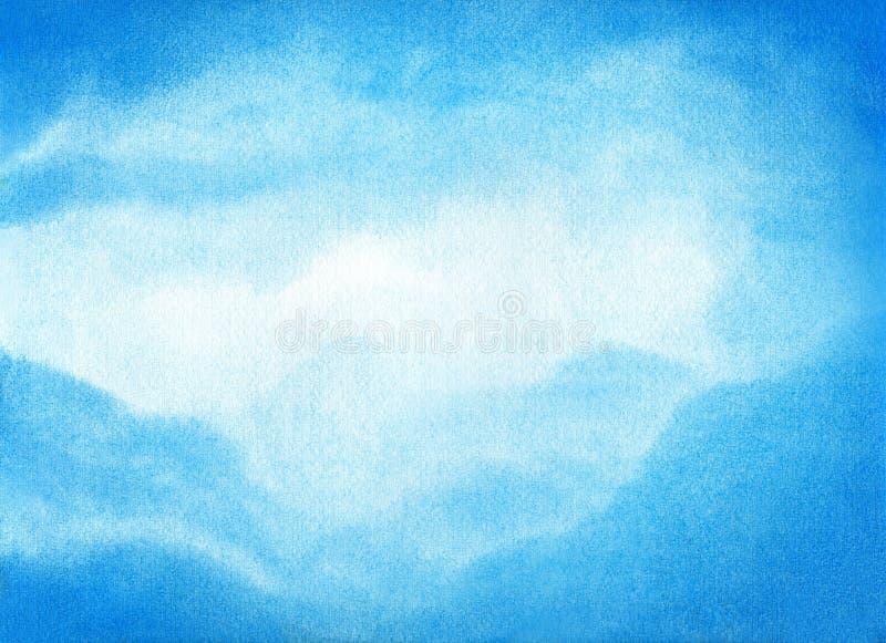 Vattenfärgillustration av blå himmel med molnet Konstnärlig naturlig målningabstrakt begreppbakgrund royaltyfria bilder