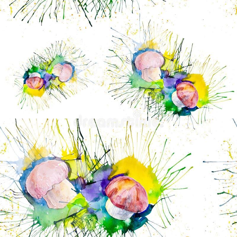 Vattenfärgillustration av champinjoner på mossa i skogen bakgrund isolerad white seamless modell vektor illustrationer