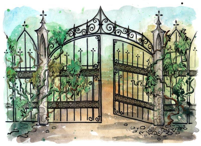 Vattenfärgillustration av den gamla gotiska porten stock illustrationer