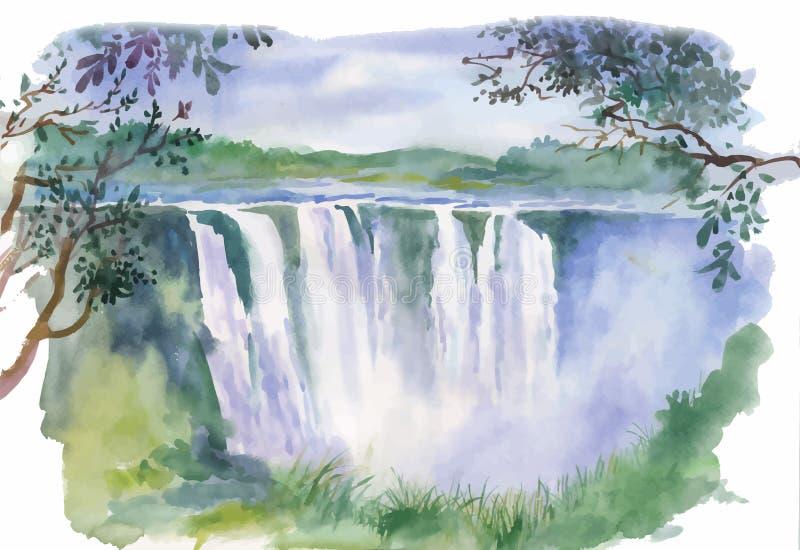 Vattenfärgillustration av den härliga vattenfallet royaltyfri illustrationer