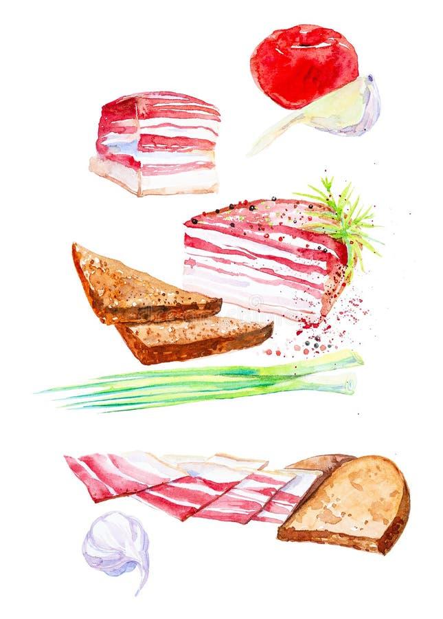 Vattenfärgillustration av den lagade mat köttuppsättningen Salladslökar, vitlök, skinka, skinka, bröd, griskött och kryddor bakgr stock illustrationer