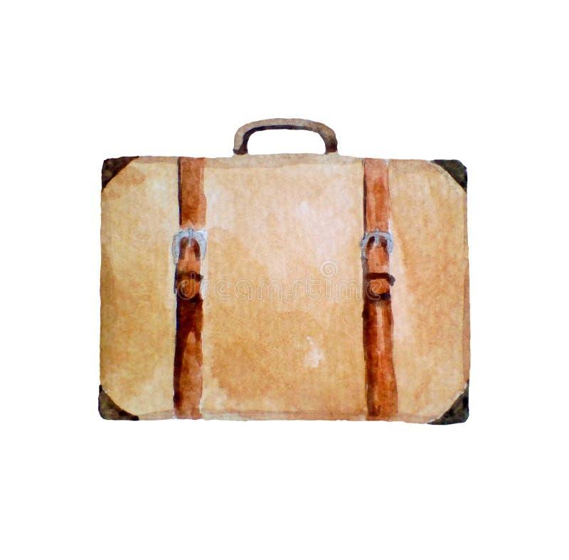 Vattenfärgillustration av den retro resväskan, symbol som isoleras på vit arkivbild
