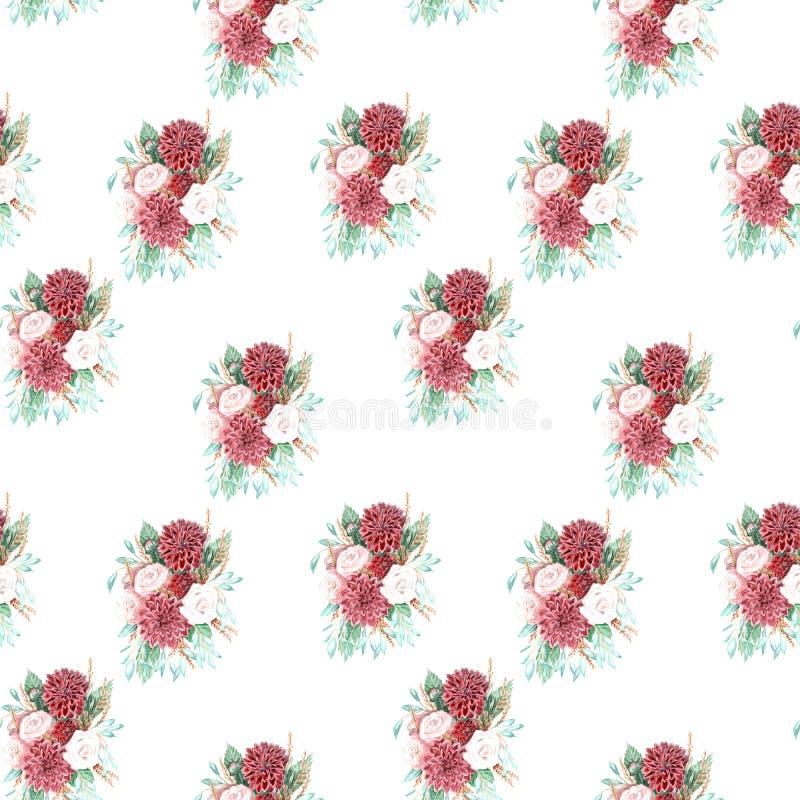 Vattenfärgillustration av en bukett av blommor vektor illustrationer