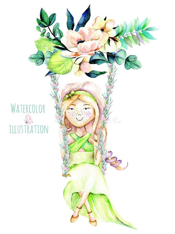 Vattenfärgillustration av en flicka som svänger på en gunga från blommabukett royaltyfri illustrationer