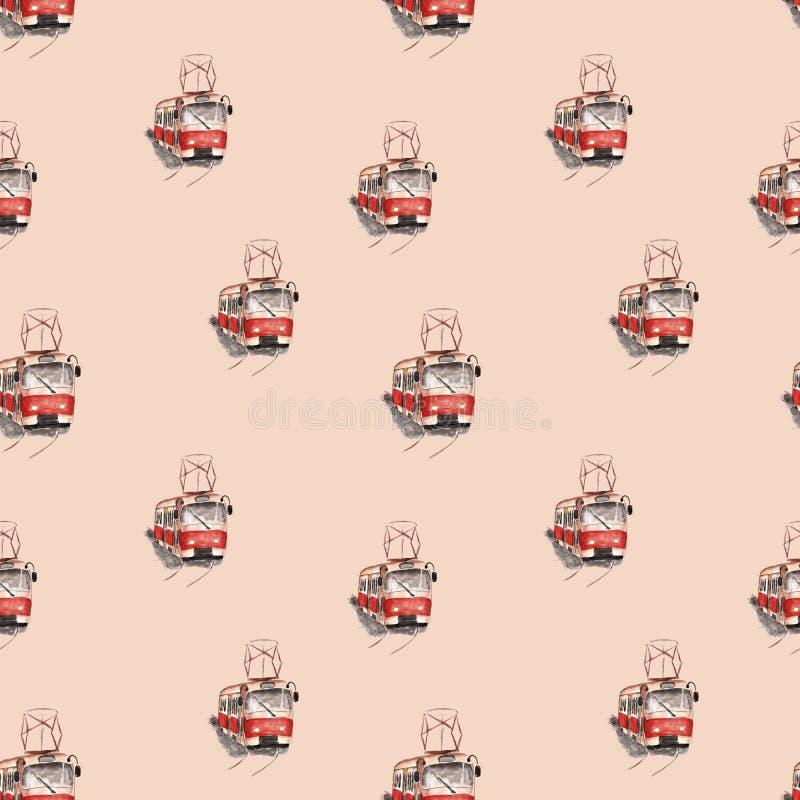 Vattenfärgillustration av en röd spårvagnmodell vektor illustrationer