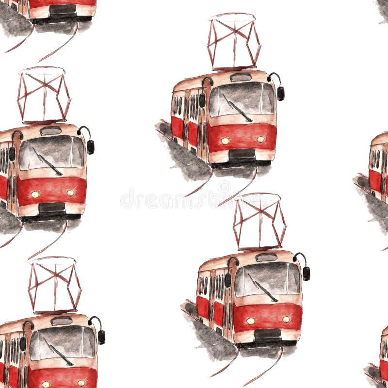 Vattenfärgillustration av en röd spårvagnmodell royaltyfri illustrationer