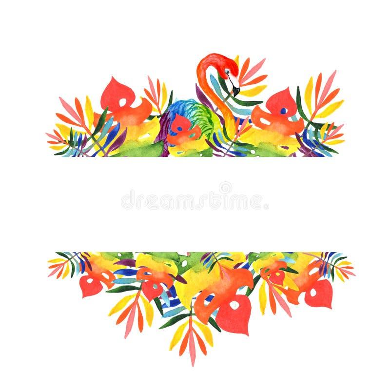 Vattenfärgillustration av en rektangulär ram av tropiska sidor och flamingoregnbågefärger arkivbilder