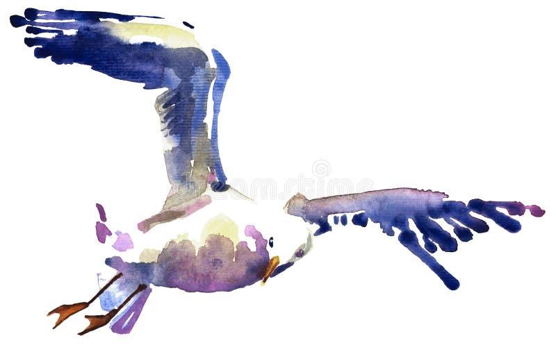 Vattenfärgillustration av en seagull med vingar i strimmor vektor illustrationer