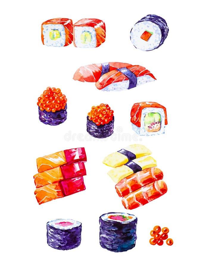 Vattenfärgillustration av en uppsättning av sushi och rullar bakgrund isolerad white arkivfoto