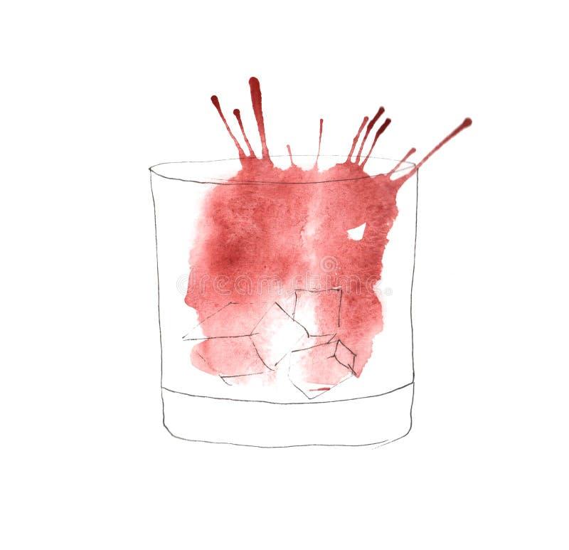 Vattenfärgillustration av ett exponeringsglas stock illustrationer