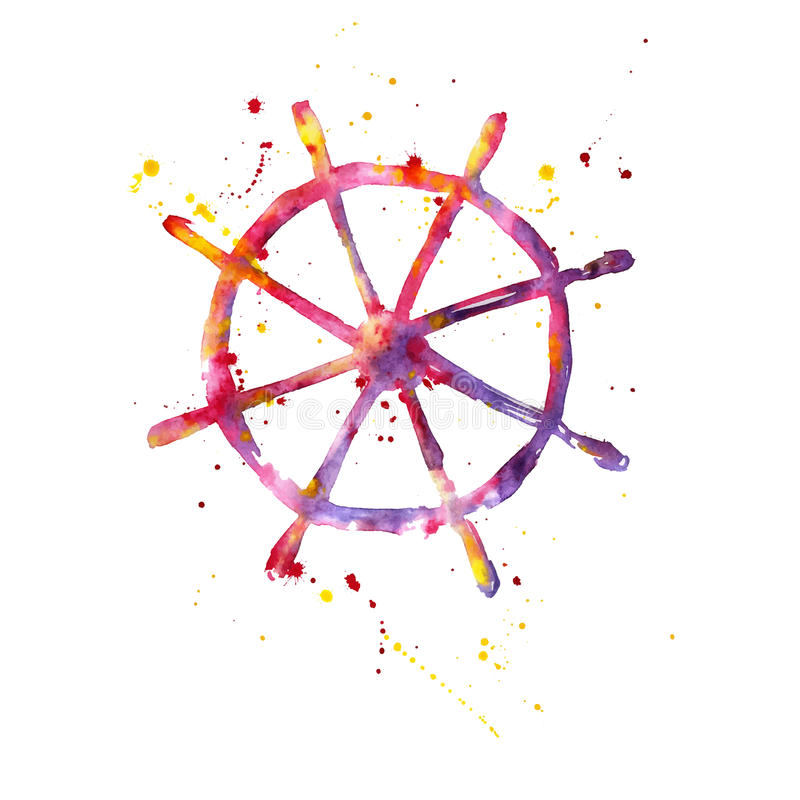 Vattenfärgillustration av ett styrninghjul vektor illustrationer