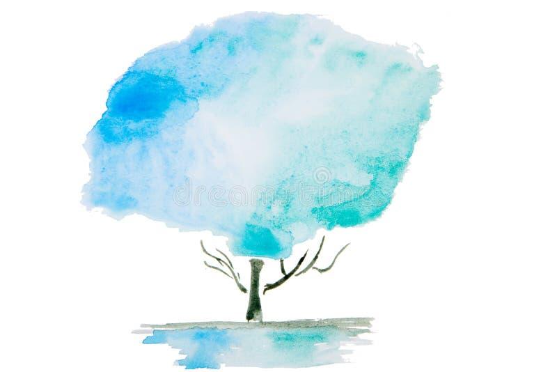 Vattenfärgillustration av ett träd vektor illustrationer