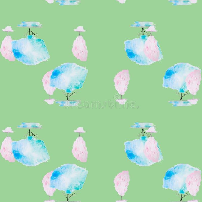 Vattenfärgillustration av ett träd stock illustrationer