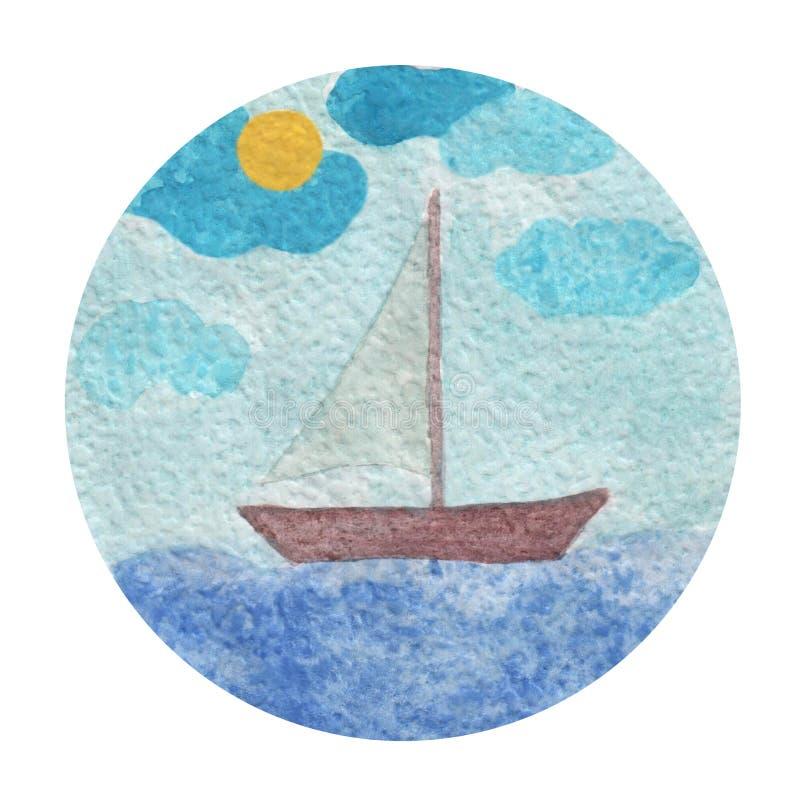 Vattenfärgillustration av fartyg på en våg med solen och molnet royaltyfri illustrationer
