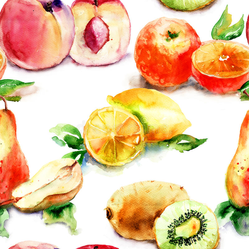 Vattenfärgillustration av frukt royaltyfri illustrationer
