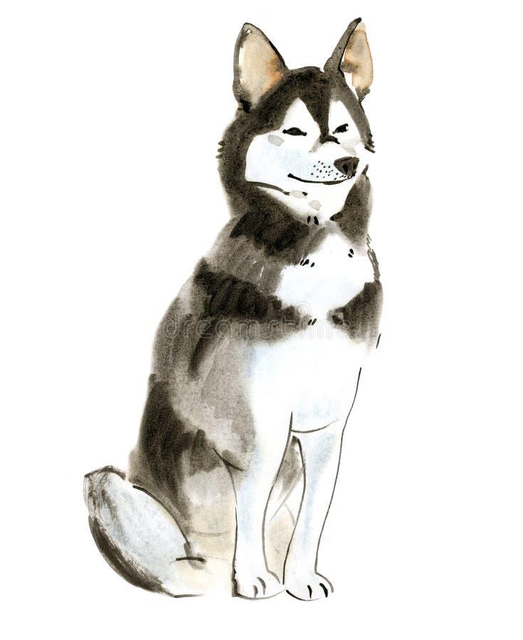 Vattenfärgillustration av hunden som är skrovlig i vit bakgrund vektor illustrationer