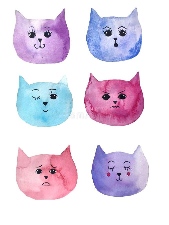 Vattenfärgillustration av katts sinnesrörelser Ljus konst kan användas för vykort och att skriva ut fotografering för bildbyråer