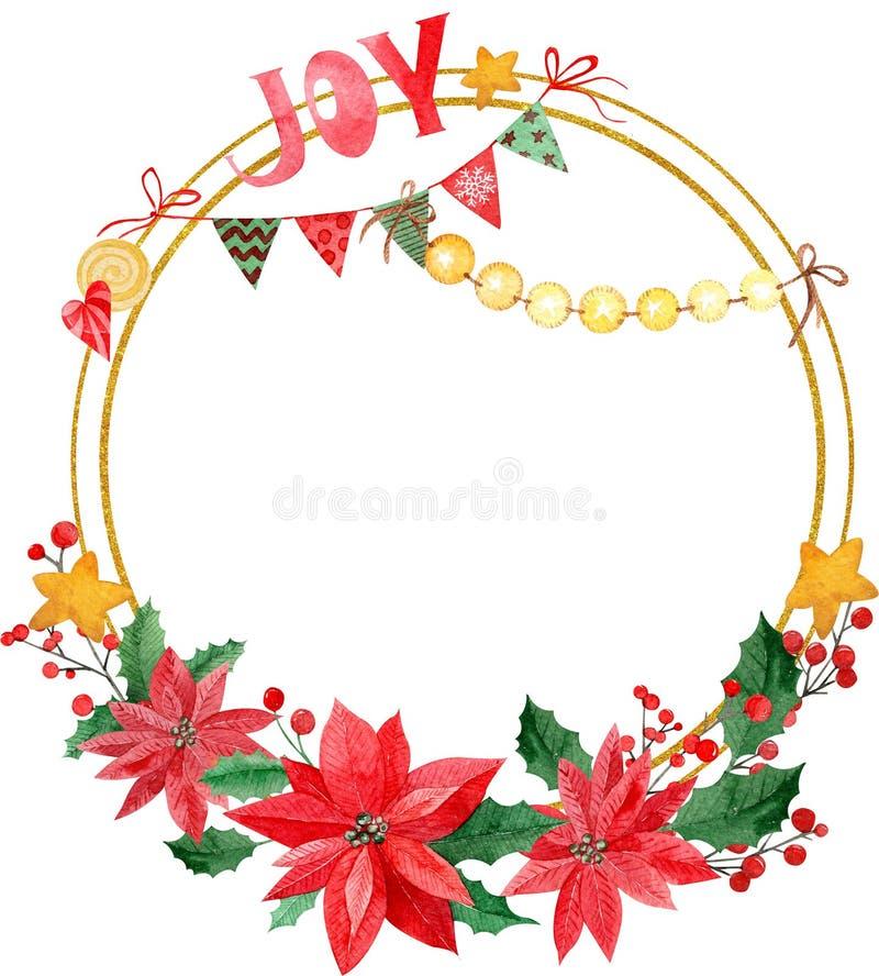 Vattenfärgillustration av kransen för glad jul, röda bär och gröna trädfilialer, julstjärnor med glädjeinskriften stock illustrationer