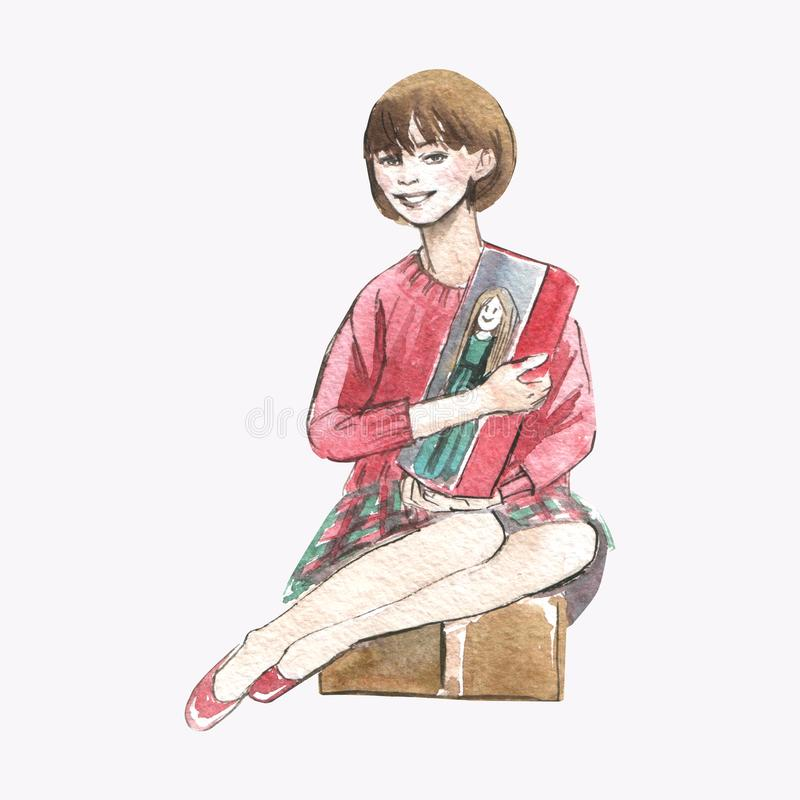 Vattenfärgillustration av lite flickan med en docka i närvarande ask på vit bakgrund vektor illustrationer