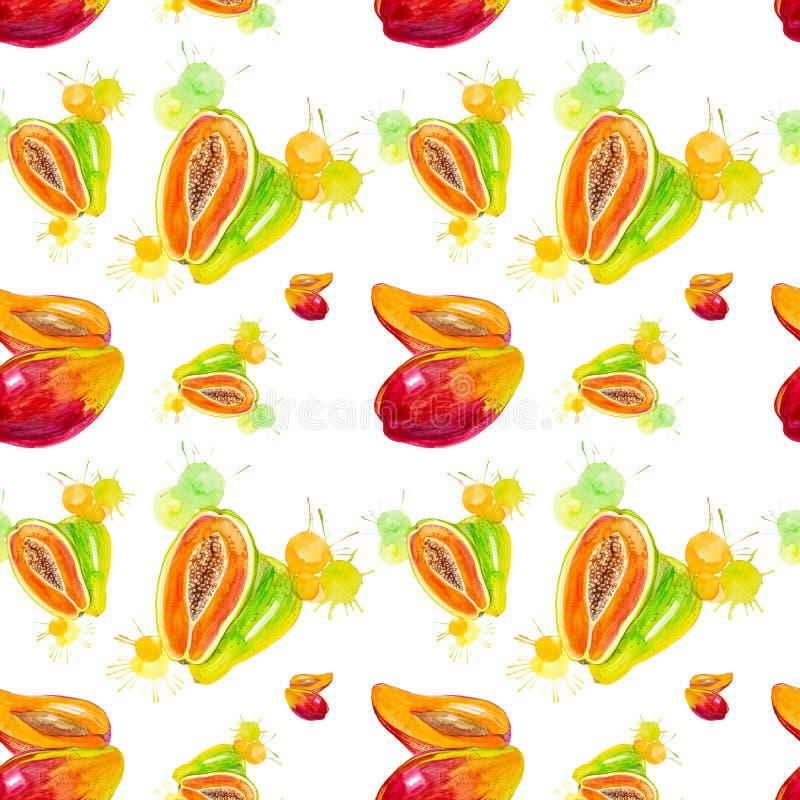 Vattenfärgillustration av mango och papayaen i fruktsaftfärgstänk som isoleras på en vit bakgrund seamless modell royaltyfri illustrationer